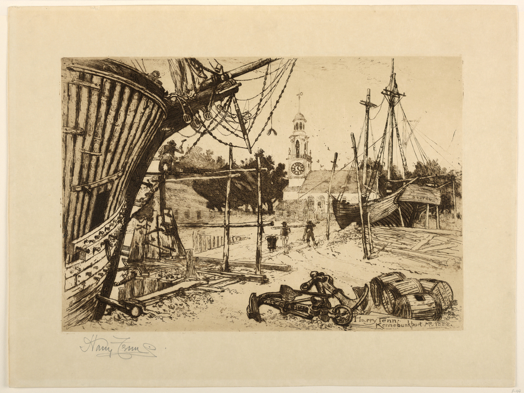 Fishing boats tied up at the wharf; in the background, the church of Kennebunkport.