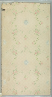 """Pink rose vining with blue moires medallions. Small trellis background. Printed in pinks, greens, blues, white and white liquid mica on white ground. Printed in selvedge: """"S.A. Maxwell & Co."""" Water damage and torn pieces along edges."""