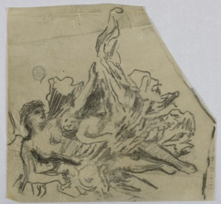 A figure in drapery, with one arm held out to the right; a putti beneath it, looking up to the left.