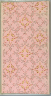 Overlapping wreaths of foliate scrolls and wreaths of floral vining. Ground shades from white to pink to white. Printed in yellow, green, pink, white mica, and gold mica.