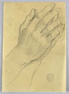 Palms together, in prayer position; shaded to the wrists.
