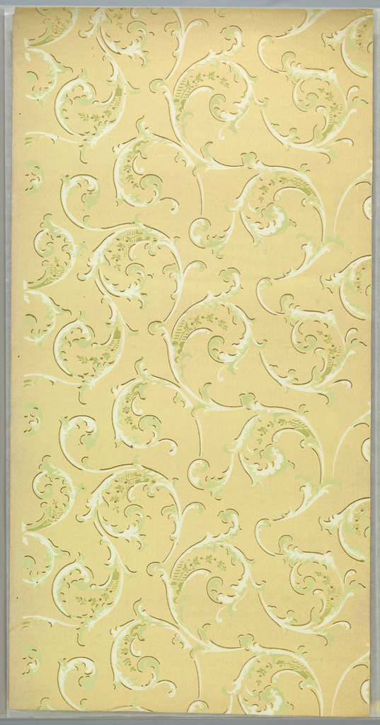 Loose arrangement of large acanthus scrolls, each containing a green floral sprig. Printed on tan or light yellow ground.
