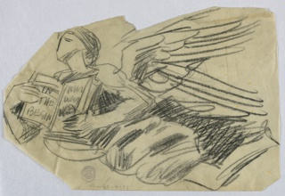"""Angel in flight toward the left, holding an open book. The right hand points to text on the lefthand page, reading: """"IN THE BEGIN"""""""
