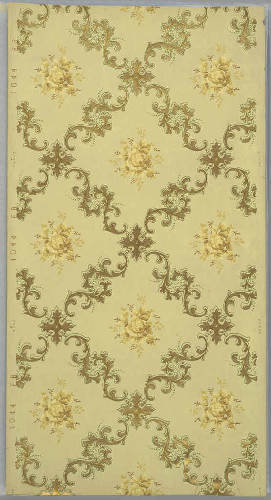 Grid or trellis pattern composed of scrolling acanthus foliage, having a square acanthus medallion at the intersection of lines. A floral sprig fills the center of each void. Printed in yellow and metallic gold on tan ground.