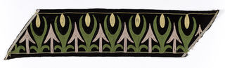 Black velvet border with couched cord soutache foliate and arrow motifs, in green, pale pink and yellow.