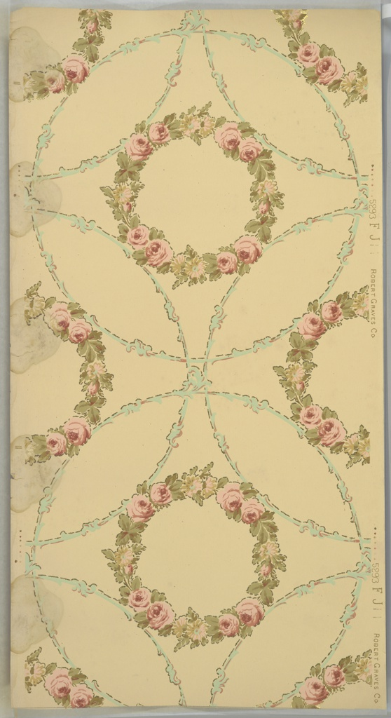 """Flitter ceiling paper with floral wreaths containing pink roses contained within overlapping foliate circles. The wreaths and circles are outlined in small gold mica flakes. White ground. Printed in pinks, greens, tan, light teal, and gold mica flakes. Mold and water damage. Printed in selvedge: """"Robert Graves Co. 5293 FJ"""""""