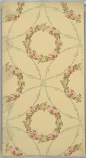Flitter ceiling paper with floral wreaths containing pink roses contained within overlapping foliate circles. The wreaths and circles are outlined in small gold mica flakes. White ground. Printed in pinks, greens, tan, light teal, and gold mica flakes. Mold and water damage.