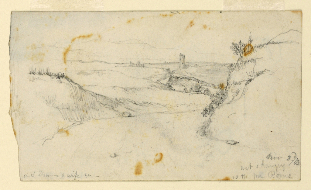 Recto: Horizontal view of a winding road in hilly country with a tower rising in the right central distance and a group of buildings in the further left distance. Verso: A donkey is shown from behind at center, with parts of others shown at right.  At left, vertically, and in opposite direction respectively: three lower parts of legs of donkeys.