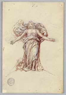 Sketch for Christ in the painting in the chancel of St. Bartholomew, New York City. Christ is shown with arms extended, head lowered, and bare chest. The upper part of the wrapper serves as a backdrop for the torso. Several slight pencil sketches for the hands.