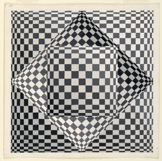 Square, set laterally within a square on a patterned ground. Effect achieved by grading the proportions of shaded tesselations.
