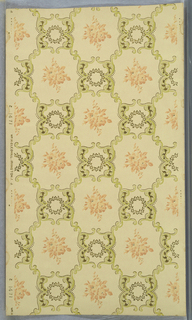 Trellis pattern composed of green and metallic gold acanthus scrolls with a foliate wreath filling the intersections, and terra cotta floral motifs within each void.