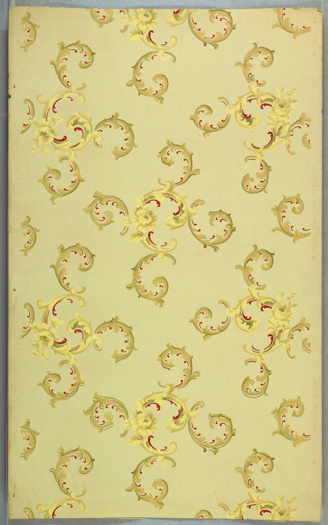 Four acanthus scrolls branch out from a C scroll containing a single flower. Printed on a light yellow ground.