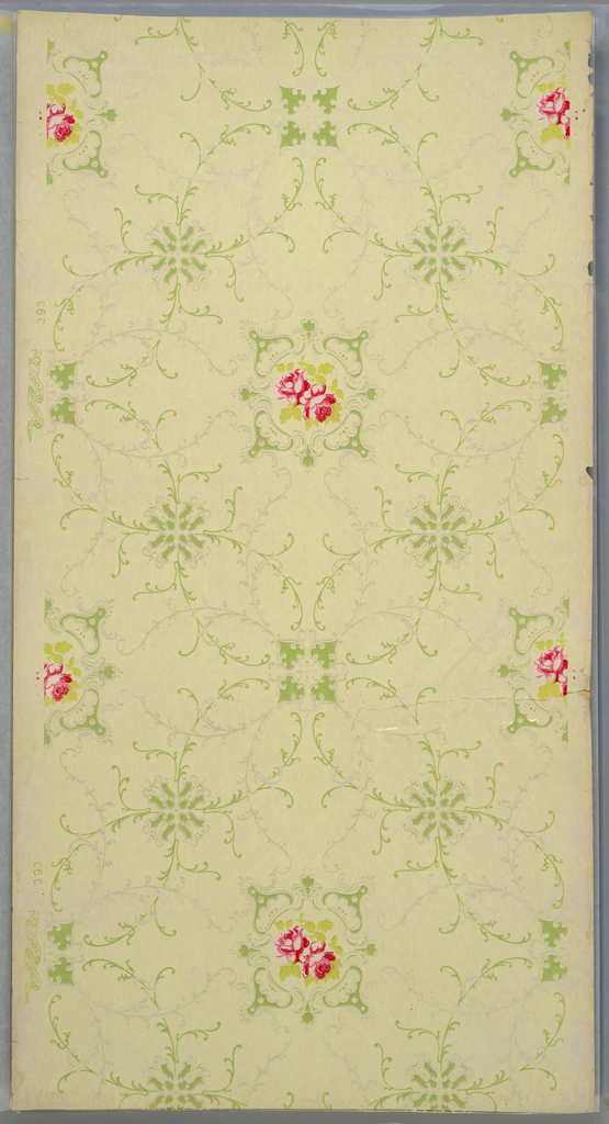 Scrolling foliate medallions with bright red accents. Printed in two shades of green, gray, and red on a very pale green ground.