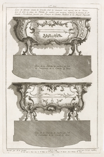 Two small table designs, one above the other with elevation and plan views.