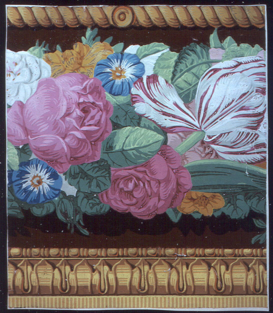 Horizontal rectangle. Band of roses, tulips and morning glories in naturalistic colors against field of dark red flock; across top, leaf molding and bead and reel, across bottom, cable molding, in yellows.
