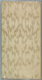 Heavy moire pattern printed in white mica on a cream-color ribbed ground.