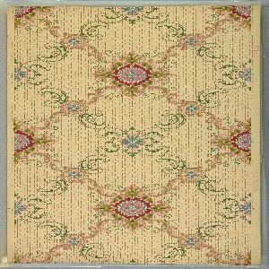 """Two overlapping trellisses, one of green beaded scrolls, fleurs-de-lis and a blue and pink flower center; the other gold scrolls with alternating small and large blue and pink medallions. Background has lines of dots and squiggles. Beige ground. Printed in pinks, blue, green and yellow-browns. Printed in selvedge: """"Y.W.P. Co."""""""