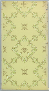 Flitter ceiling paper with repeating design of square acanthus medallions, with foliate scrolls on each of four sides connecting to other square medallions. Printed in applied mica flakes on light green ground.