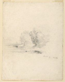 Sketch of a brook with trees and a meadow in the background.