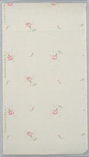 Larger and smaller carnations alternate on off-white polka dot ground
