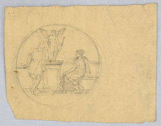 Two classical figures, with female figure seated at right and male figure standing at left. Center, a statue of Mercury on a pedestal. Verso: two borders crossed out, in pen and black ink, crayon, and graphite.