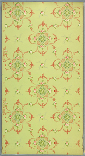 Quatrefoil motifs composed of floral swags and trellis work, connected by foliate scrolls. A floral sprig centered in each void. Printed on light green ground.