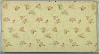 All-over pattern with clusters of pink flowers and leaves on white and gray scrolls.