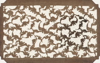 Design of bats flying, their wings interlacing to form a continuous pattern.