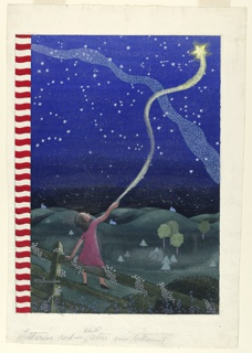 Vertical rectangle. Landscape at night, green grass and trees and a country scene, deep blue sky, woman in maroon dress holding the tail of a comet. Red and white stripe band on side.