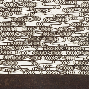 Sheet of layered paper with design of horizontal bands of tightly curled linear swirls resembling water or smoke currents held together with fibers of silk or human hair.