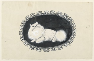 Animal figure of a white Persian cat, its head inclined upwards, within a black horizontal oval. Surrounding the oval, an elaborately shaped frame.
