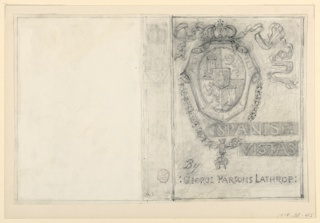 """Sketch for the front and the spine of a bookbinding for """"Spanish Vistas"""" by George Parsons Lathrop. A slight sketch for the spine is in the center, the front cover, at right, showing the Royal Spanish coat-of-arms and the lettering. Verso: Study of Female Nude Kneeling, ca. 1880-1883. Figure shown in profile, turned to right, the hands not shown. The head is turned toward the right shoulder."""