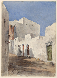 A narrow street on a slope, with a profile view of a figure, wearing a white a white hooded cloak standing before a doorway. Animal stands near him.