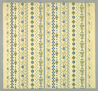 "Pattern taken from an East Indian cotton print likely from Java. An arrangement of ten different stripes of small scaled Far Eastern symbols and motifs. A reproduction of wallpaper found in one of the early houses in Duxbury, Massachusetts. The cotton prints were highly prized and were frequently used as barter when trading with the Indians. Printed in original colors of blue and tan on beige field. Printed on margin: ""Strahan. Made in U.S.A. Duxbury Stripe, 7331""."