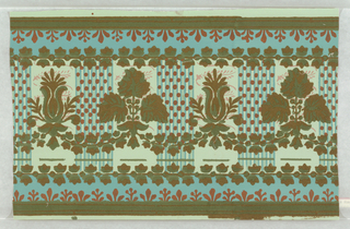 a) Vertical bands of dark and light blue printed with copper-colored dots and stylized flowers in brown flock alternate with a continuously linked leaf pattern on a light blue ground. On margin: Made in Paris, R C a Paris, 149; b) Frieze of same design as above, overlaid with flocked leaf and flower designs with blue, copper-colored and green border above. Dado repeats border above.