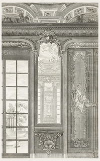 Detail of Count Bielinski's cabinet (1921-6-212-45). Elevation showing a reflecting pier mirror with a wall-mounted console table below. To the left, a scene of steps, tall pillars, a large urn and leafy trees is seen through the window. To the right, a tall boiserie panel decorated at the center with a winged angel blowing a horn.