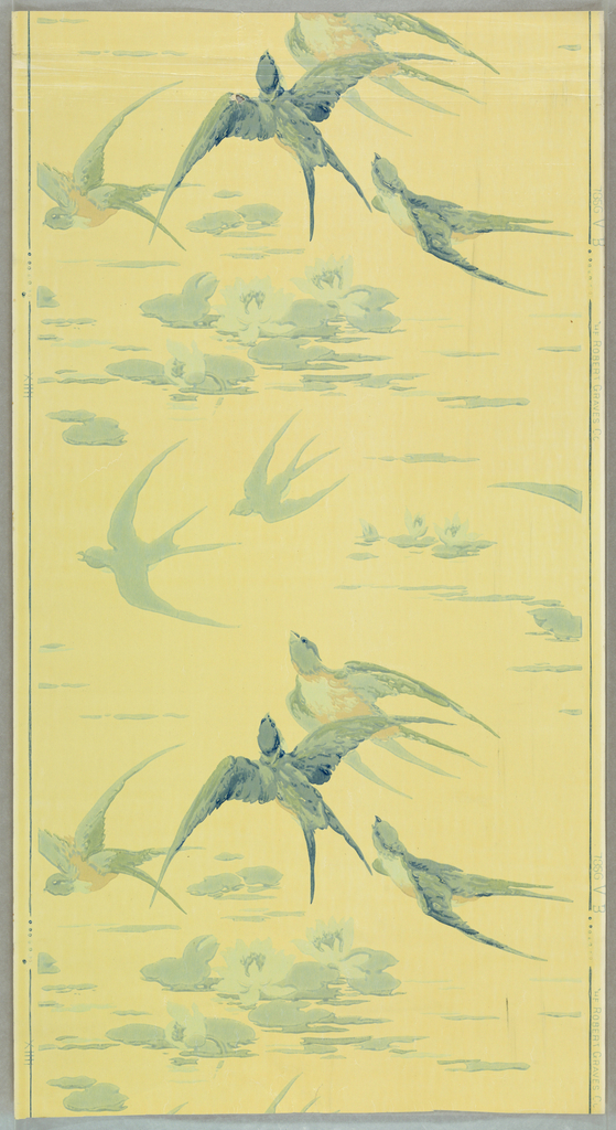 Varnished or sanitary paper showing groups of swallows in flight above water lilies. Printed in shades of blue and tan on a light yellow ground. For bathrooms or other rooms susceptible to moisture or dirt.