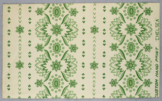 Design showing conventionalized floral forms arranged in stripes and printed in two shades of green on a white ground.
