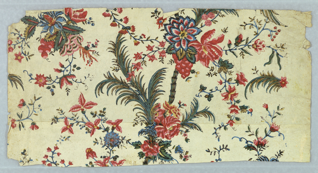 Chintz-inspired design. Wild fantasy floral pattern printed in multicolor on white ground.