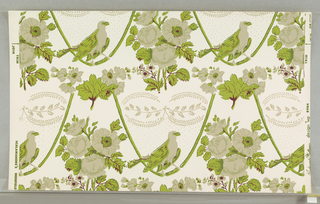 On white ground, repeating pattern in chartreuse green, maroon, beige. Roses and other flowers, large bird perched on ribbon swag, two to a width.