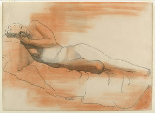 A female nude is seen reclining on a couch, her head at left. She rests her head on the back of her left hand.
