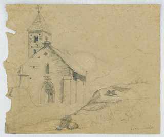 Drawing, Small Church in Sion, Switzerland