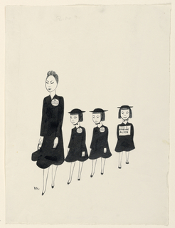 Japanese woman with three Japanese girls walking single file. All wearing large buttons. Inscribed in pen and black ink, on buttons of woman and two children: American Citizens; on button of third child: Enemy Alien.