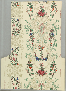 One narrow and one wide vertical band of scroll-work intertwined with polychrome flowers, on beige ground. Straight repeat, straight match.