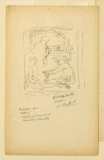 Leaf from a sketchbook. Two seated figures working with mortar and pestel. A standing figure beside them. In the distance, a figure in a boat.