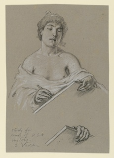 Female figure, lightly draped, faces the viewer while writing on a large tablet. Below: detail of one hand grasping the tablet.