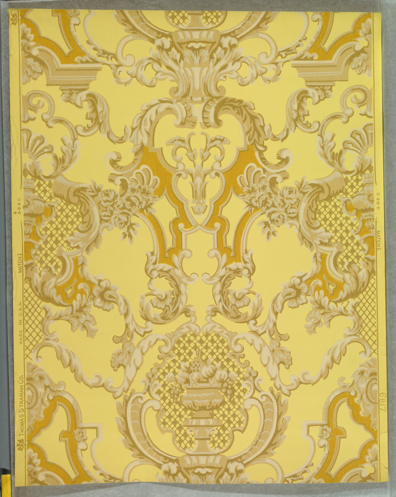 a) On cream ground, leafy arabesques and cartouches enframing fruit-filled urn, in shades of beige, white; b) duplicate on yellow ground, with shades of mustard, beige and white.