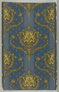 """On textured paper, deep turquoise ground, and patterned stripe of small figures in lighter blue. Dominant pattern: foliate arabesques in shades of gold and yellow. Printed in margin: """"Process patented July 19, 1892."""""""