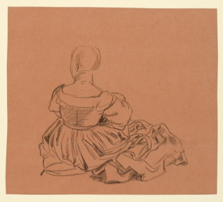 Horizontal rectangle. Seated figure of a woman in costume, seen from the back.