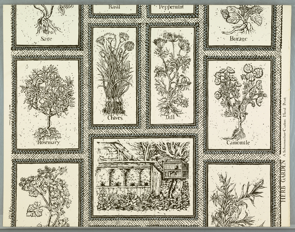 """Black and gray herbs, """"Rosemary"""", """"Dill"""", """"Camomile"""", and a garden with beehives, all framed in black and white diagonally lined white ground. On margin: """"Herb Garden"""", A Schumacher Custom Hand Print."""